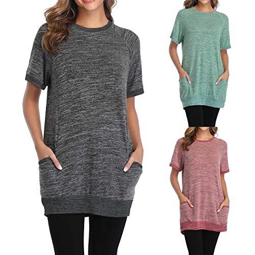 Damen Langes T-Shirt mit Tasche Kurzarm Rundhals Sommer Basic Beiläufig Casual Tops Atmungsaktive Stretch Lose Women Oberteil lässige Bluse Hemd Vintage Retro Tunika (Rosa,XL) (Rosa,XL)