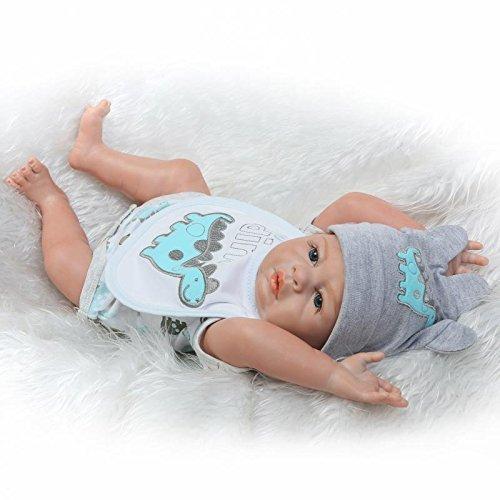 Pinky 20 inch 50cm Realistic Looking Lifelike Baby Boy Reborn Doll Full Body Newborn Babies Silicone Dolls Toddler Toy for Kid Birthday Xmas Present