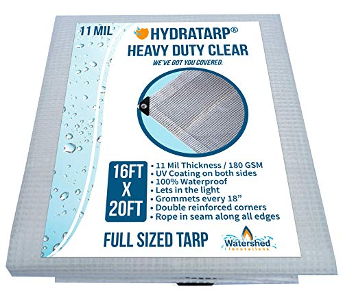 Heavy Duty Clear Greenhouse Tarp - 16ft x 20ft - Premium Quality 10 mil with 3x3 Mesh Weave for Added Strength - UV Coated Protection for Outdoor Camping RV Truck and Trailers
