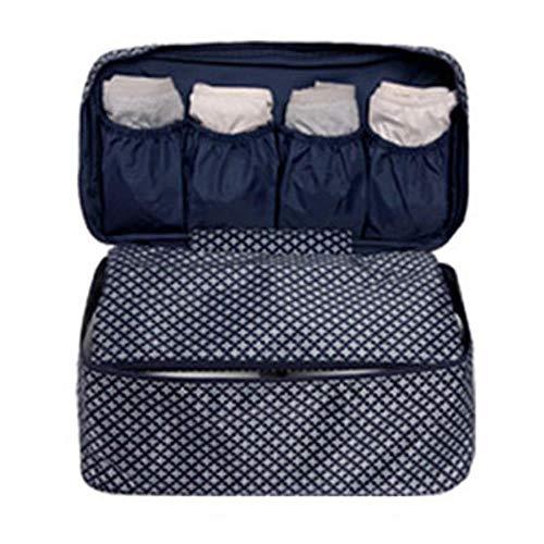 Nuevo Sujetador de mujer Ropa interior Bolsas de viaje Organizador de maletas Bolsas de viaje Organizador de equipaje para lencería Maquillaje Artículos de tocador Bolsa de lavado, BlueStar