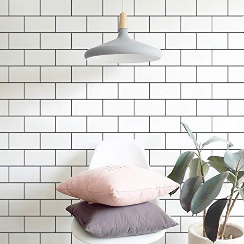 LZYMLG Nordic selbstklebende PVC Tapete Studentenwohnheim Schlafzimmer Wohnzimmer Hintergrund Renovierung Aufkleber Dekoration Tapete Weißer Backstein