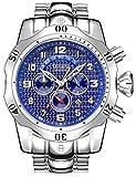 Relojes de cuarzo para hombre, calendario luminoso, correa de acero, reloj de cuarzo, resistente al agua, cronógrafo, reloj de negocio, color azul plateado