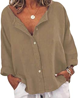 MK988 Women's Baggy Long Sleeve Solid Casual Linen T-Shirts Top Button Up Blouse