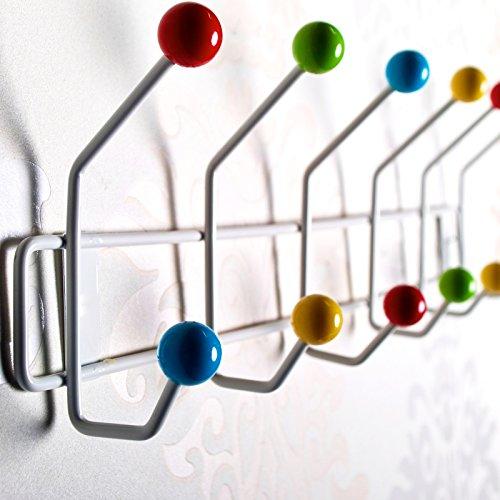 DESIGN DELIGHTS GARDEROBENLEISTE COLOUR BALL BUNT | 50x15,5cm(LxH) | farbenfrohe Wandgarderobe, Garderobe mit 12 Haken, Hakenleiste mit bunten Kugeln