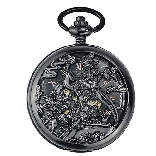 Reloj de Bolsillo, Reloj mecánico Auatic, reutilización, Viejas Tablas de Pareja con Tapa de Shanghai, Cadena de suéter Hueca Tallada.(Color: 1)