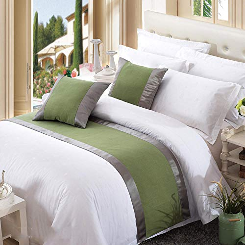 W-PLEIY Bed Runner Cama de Hotel de Gama Alta Impresa En Color Liso Tira Decorativa Cojín de Cama de Hierba Funda de Cama Cubierta de 240 * 50 cm (Cama de 180 cm) Verde