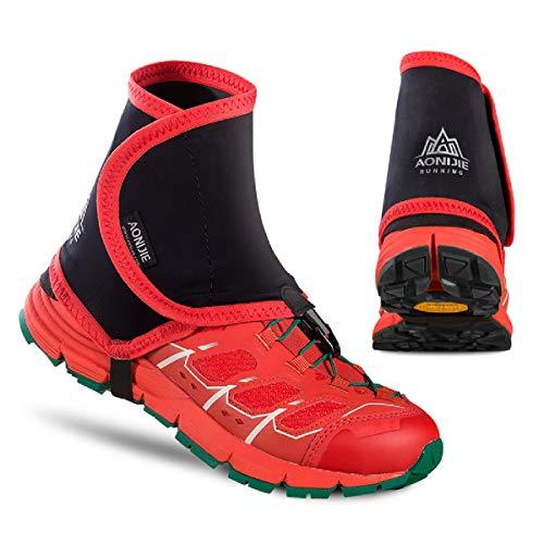 Azarxis Trail Low Gaiters, Unisex Gaiter, Outdoor Gamaschen für Damen und Herren Laufen Wandern Klettern (Rot & schwarz)