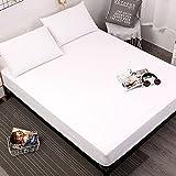 DSman Protector de colchón - cubrecolchón Transpirable Sábana Pure Color Comfortable-White_180 * 200 * 30cm