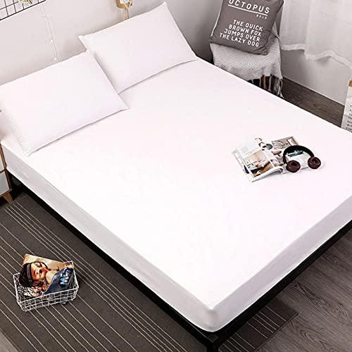 DSman Protector de colchón - cubrecolchón Transpirable Sábana Pure Color Comfortable-White_200 * 220 * 30cm