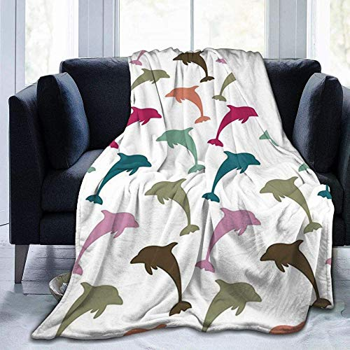 USDFYU Super Soft Comfortable And Warm Flannel Blanket Colorful Dolphin For All Season Sofa Bed Blanket Living Room Bedroom200*150cm
