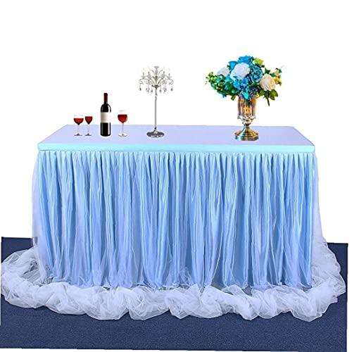Berrywho Tischrock Tüll Tisch Rock Mesh Flauschiger Tutu Tischrock für Hochzeit Baby Dusche Geburtstag Party Dekoration Liefert (Blue2, 6FT)