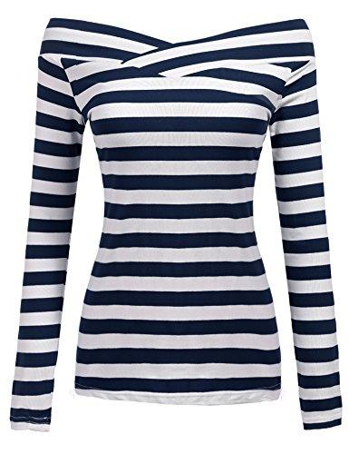 Zeagoo Damen Gestreiftes Shirt Schulterfrei Kurzarmshirt Off Shoulder Oberteil T-Shirt Streifen Tops (Blau_2, EU 38/ M)