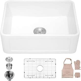 Lordear 24 Inch Farmhouse Sink, Single Bowl Fireclay Farmhouse Sink Apron-Front Kitchen Sink