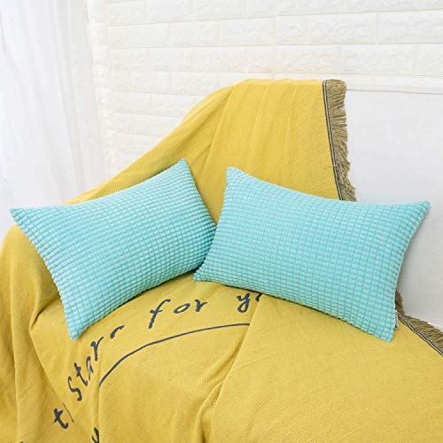 HWY 50 Decorative Lumbar Throw Pillows Covers Soft Comfy Corduroy Solid Pale Blue Rectangle Pillow Covers Cushion Cases Set for Couch Sofa Bedroom 12 x 20 inch Pack of 2, Corn Striped Decoration