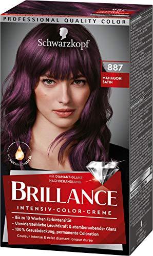 Brillance Intensiv-Color-Creme Haarfarbe 887 Mahagoni Satin Stufe 3, 3er Pack(3 x 160 ml)