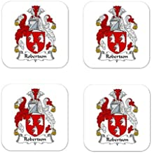 Robertson Family Crest Square Coasters Coat of Arms Coasters - Set of 4