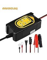 バッテリー充電器 バッテリーチャージャー 6V 12V 1.5A 全自動携帯型 自動車 バイク 芝刈り機 鉛蓄電池用