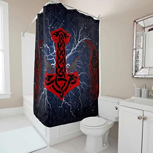 Firelife Wikinger Odin Hammer Rabe Duschvorhang Anti-Schimmel Wasserdicht Waschbar Polyester Runen Blitz Badewanne Vorhänge mit Haken Blau 180x200cm