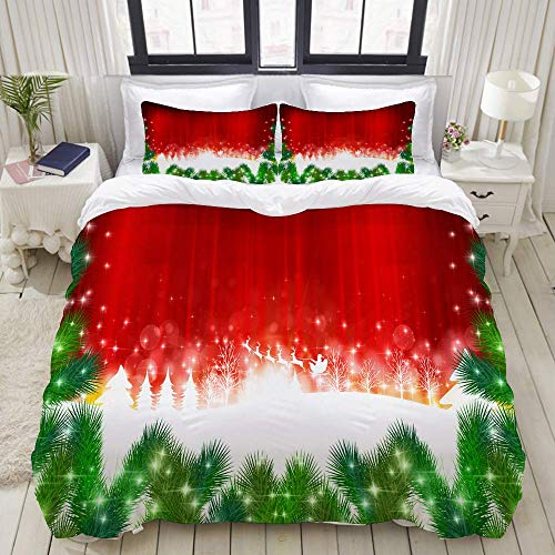 SmallNizi Duvet Cover,Trees of Christmas Santa fir,Bedding Set Ultra Comfy Lightweight Luxury Polyster Quilt Cover Sets