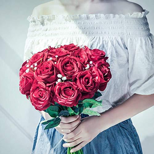 JUSTOYOU 10 Pack Künstliche Seide Rose Blumen Hochzeit Sträuße(rot) - 7
