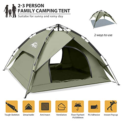 BFULL Instant Pop Up Camping Tents for 2-3 Person Family, Dome Waterproof Sun Shelters Backpacking...