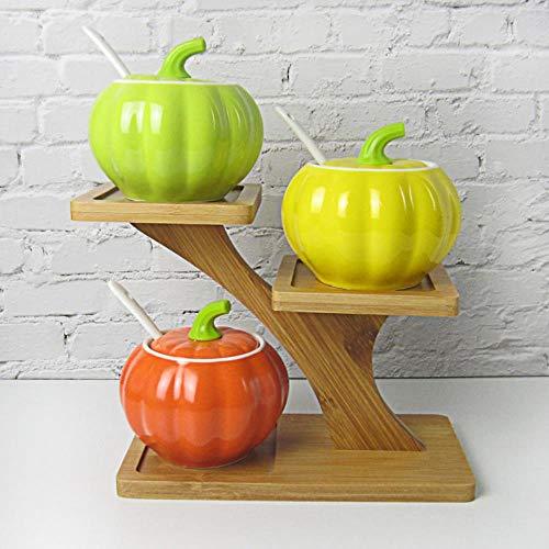 Spice Box Spice Jar kookpot vaas keramische drie distributeurs kruidenzout peper acties kluis chili olie schotel,S