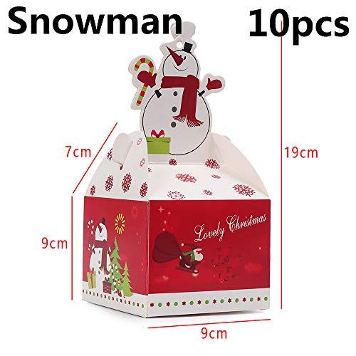 Thanksky 5/10pcs Neue Party - zubehör Kinder Mode Papier. Weihnachtsbaum Xmas - Taschen - Zucker - Box(Snowman-10pcs)