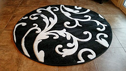 Black and Pure White Design Round Area Rug