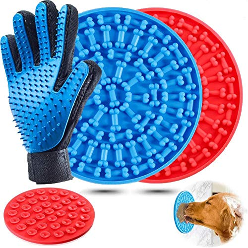 H-Jia Dog Lick Mat, Peanut Butter Lick Pad with Strong Suction to Wall, Slow Feeder Lick Mat for Dogs, Durable Food Grade Silicone Lick Pad for Pet Bathing, Grooming, and Dog Training (Blue-Red)