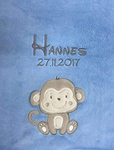 Babydecke bestickt mit Name und Geburtsdatum/kuschelig weich / 1A Qualität nach Ökotex 100 Standard - farbecht (Hellblau - ÄFFCHEN)