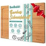 SveBake Tabla de cortar de 100 % bambú – Tabla de madera con forma de L para zumo, para carne, queso, verduras, 44 x 30 x 2 cm