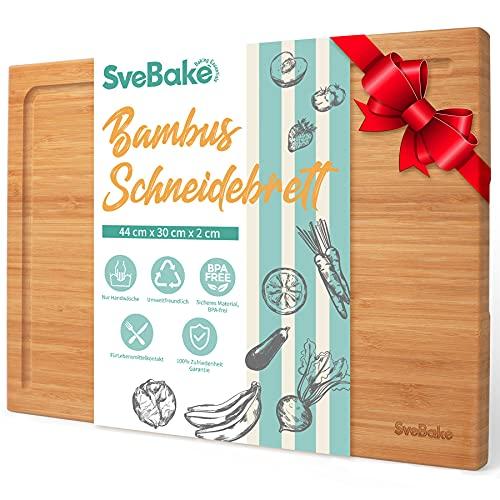 SveBake Planche à découper en 100 % bambou - Planche en bois avec gouttière à jus en L - Planche de cuisine pour viande, fromage, légumes - 44 x 30 x 2 cm