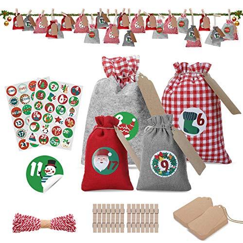 JOYXEON Adventskalender zum Befüllen Kinder 2020, mit 28 weihnachtlichen Filzbeuteln und 48 Zahlen-Aufklebern Geschenksäckchen mit (Red/Gray)