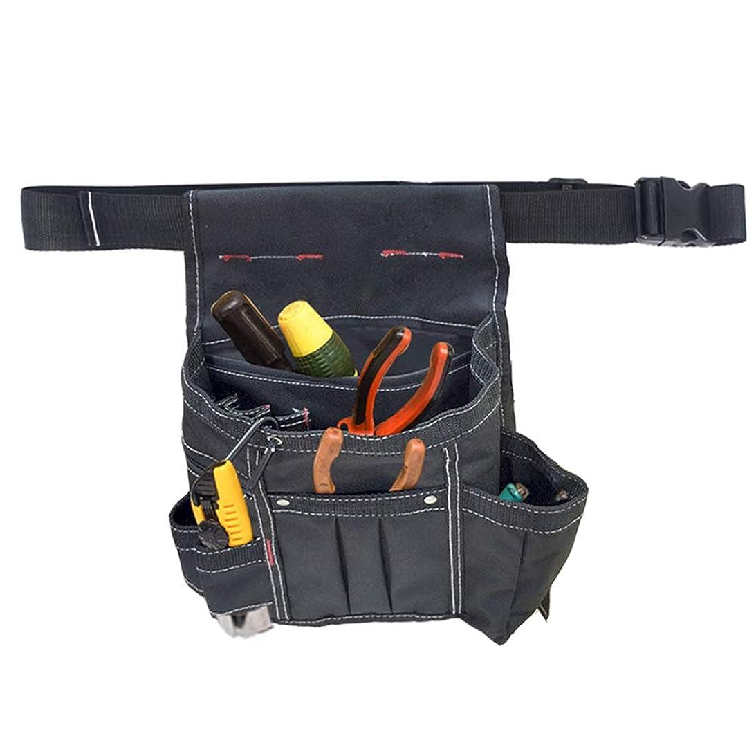平らな暗いライオン腰袋 ウエストバッグ 電工袋 ツールポッチ 釘袋 工具差し 電工道具袋 作業用 ホルダー ベルト付き (ブラック)