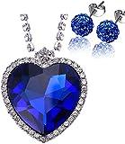 Kim Johanson Juego de joyas de acero inoxidable para mujer, diseño de corazón del océano, collar y pendientes Shamballa con circonitas, incluye paquete de regalo