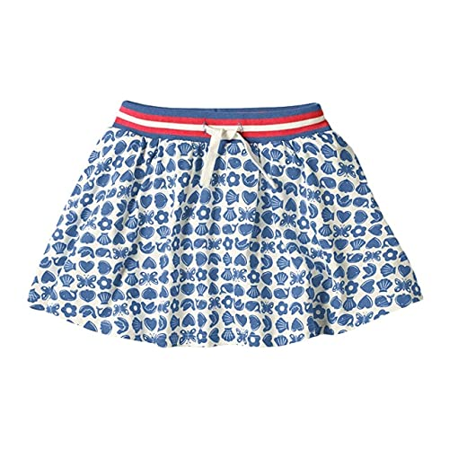 QSMIANA Gonna Tennis Estate Bambina Vestiti Denim Colore Cotone Mini Denim Colore Scuola Gonne Carino Per Bambini 2-7 Anni-Blu Cuore,2T
