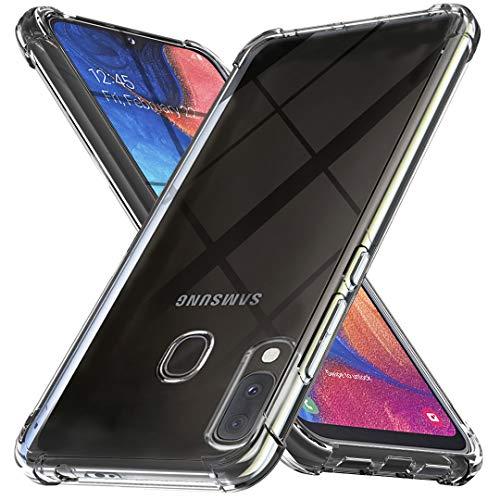 Ferilinso Cover per Samsung Galaxy A20E Cover, [Rinforzare la Versione con Quattro Angoli] [Protezione per la Fotocamera] Custodia Protettiva in Silicone Morbido Antiurto in Gomma TPU (Trasparente)