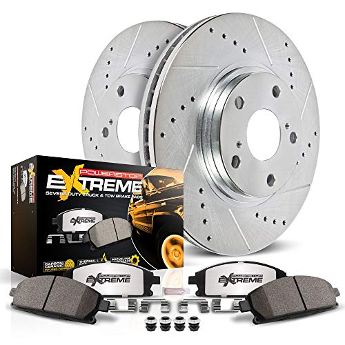 Power Stop K7352-36 Front Z36 Truck & Tow Brake Kit, Carbon Fiber Ceramic Brake Pads and Drilled/Slotted Brake Rotors