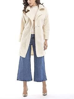 neveraway Womens Fall Winter Fleece Lambswool A-line Mid Long Pea Coat