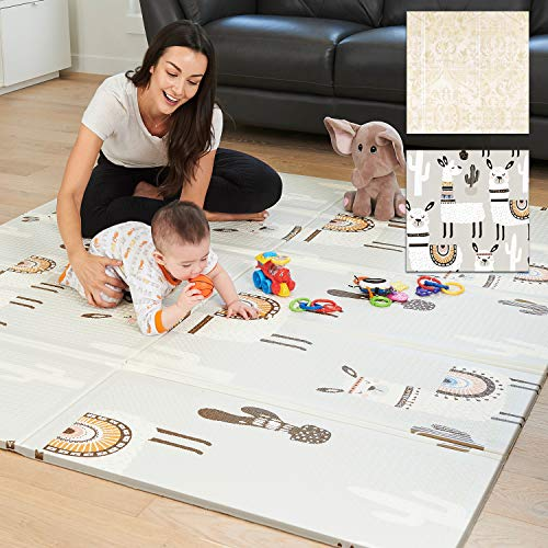 XdeModa Baby Play Mat & Exercise Mat - Extra Large Waterproof Foam Play Mat for Baby. Reversible & Foldable Design Large Foam Mat for Baby Crawling or Adults Yoga 79x71x0.6in