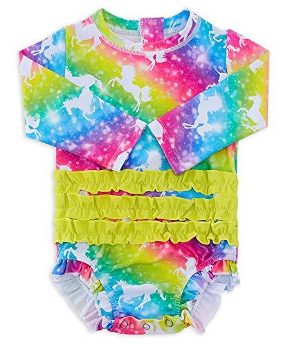 uideazone Toddler Girls Zipper Rashguard Set Infant Long Sleeve Swimsuit 3D Unicorn One Piece Beach Swimwear Bathing Suits 6-12 Months
