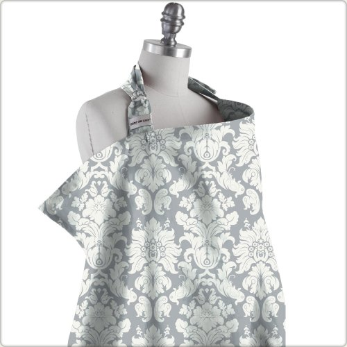 Bebe au Lait Premium Cotton Nursing Cover, Chateau Silver