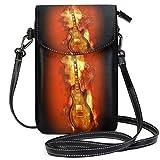 XCNGG bolso del teléfono Guitar Fire Flame Hot Rock Brand Cell Phone Purse Wallet for Women Girl Small Crossbody Purse Bags