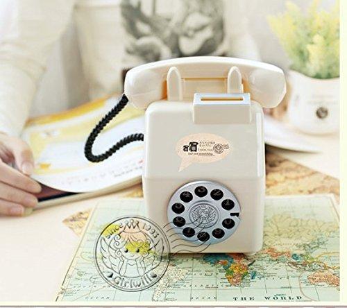 Schöne süße Geldbank Telefongeld Jar Persönlichkeit Ornament Old Fashion Sparschwein (Weiß)