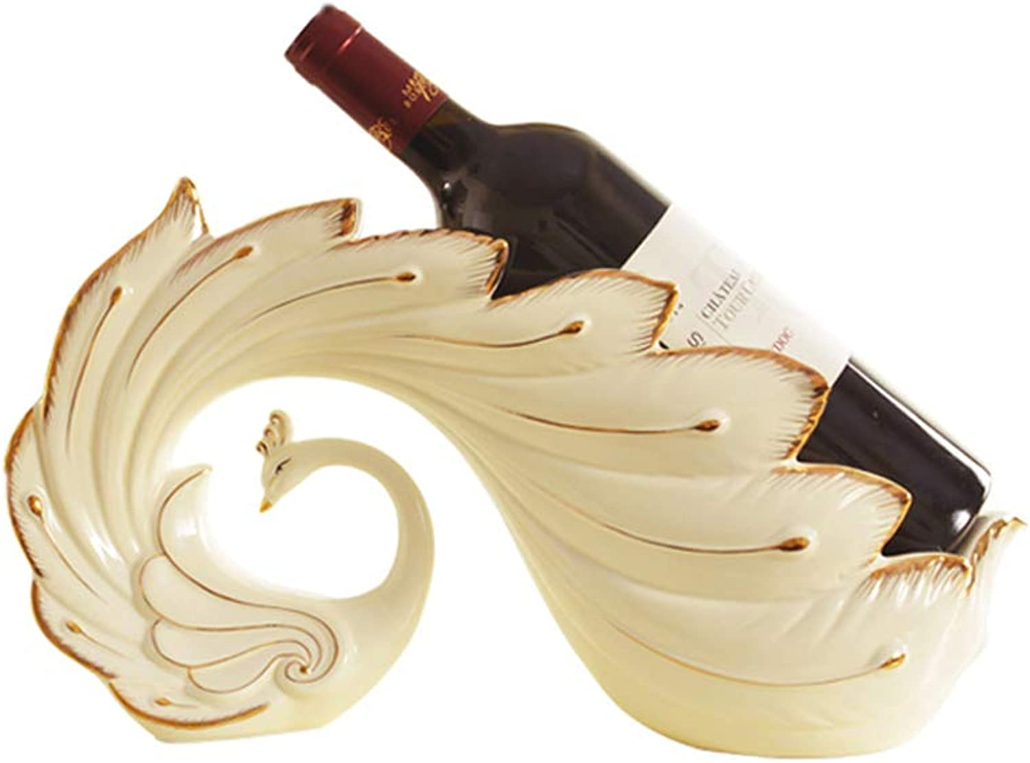 Creative White Ceramic Peacock Wine Rack, Home Wine Cabinet Living Room Housewarming Crafts (color   White)