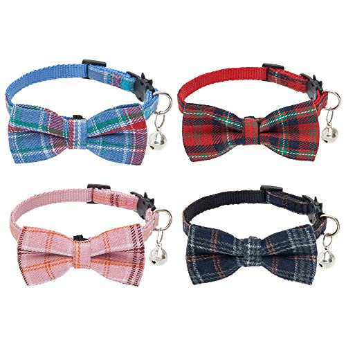 BINGPET Cat Collar Breakaway Cute Bowtie with Bell 4 Pack - Detachable and Adjustable Safety Kitten Collars, Including Blue, Red, Pink, Navy