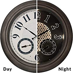 PresenTime & Co 18 Indoor/Outdoor Luminous Wall Clock with Thermometer & Hygrometer, Quartz Movement-Grey Oak Finish, Bright Warm Light Farmhouse Series