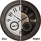 "PresenTime & Co 18"" Indoor/Outdoor Luminous Wall Clock with Thermometer & Hygrometer, Quartz Movement-Grey Oak Finish, Bright Warm Light Farmhouse Series"