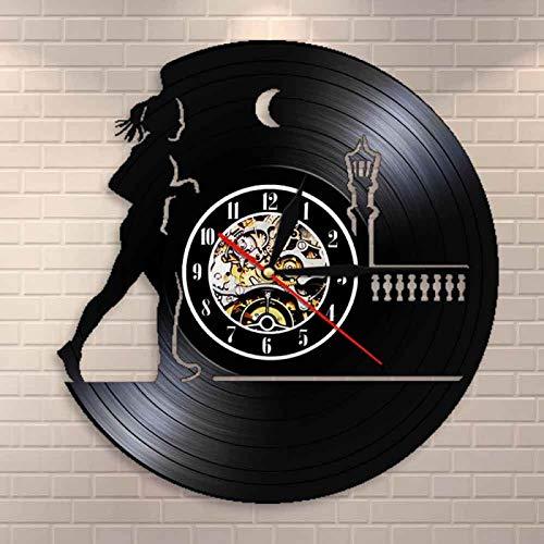 ROMK Reloj de Pared Corre a través de la Noche, Corredor Femenino, Reloj de Pared para Correr de Noche, Reloj de Pared con Registro de Vinilo Retro para Mujer, Regalo para Amantes de la Carrera