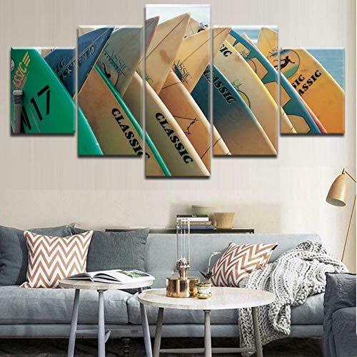 BHJIO Impresiones sobre Lienzo 5 Cuadros En Lienzo Modernos Dormitorios Murales Pared Lona XXL Grande Hogar Cuadros Decora Salón Piezas Tablas De Surf Ocean Hobby